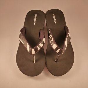 Speedo zebra womens wedge flip flop sandals size 8